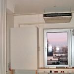 Unterdeckengerät über Fenster