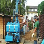 Erdwärme Wärmepumpe Bauarbeiten Garten