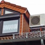 Einfamilienhaus Außeneinheit Wärmepumpe